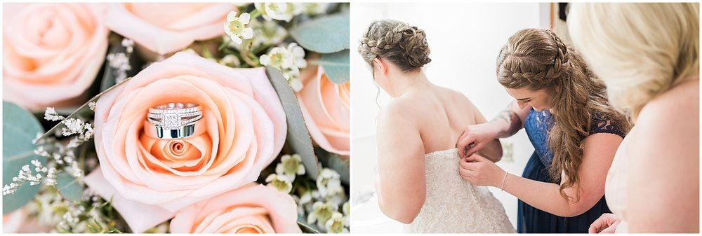 wedding ring on peach roses bride with maid of honor by Alyssa Parker Photography
