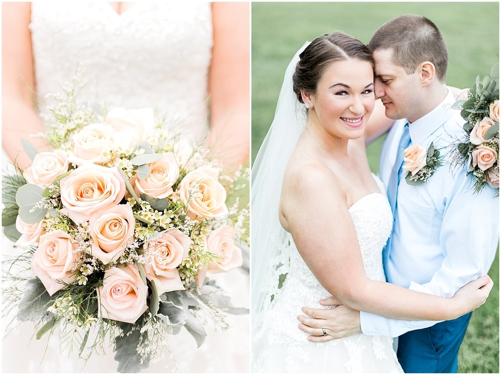 Light greens and peachy bridal bouquet