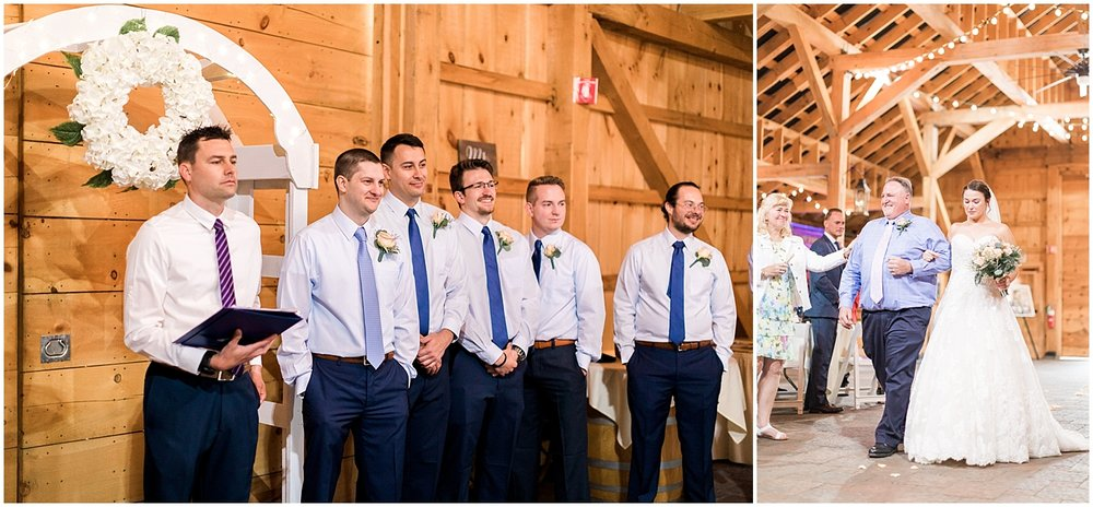 Grooms reaction to bride walking down aisle by Alyssa Parker Photography