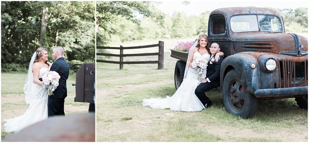 Old Truck Bride and groom portraits by Alyssa Parker Photography
