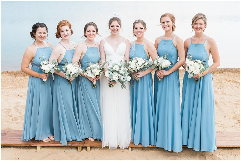 dusty blue long bridesmaids dresses by Alyssa Parker Photography