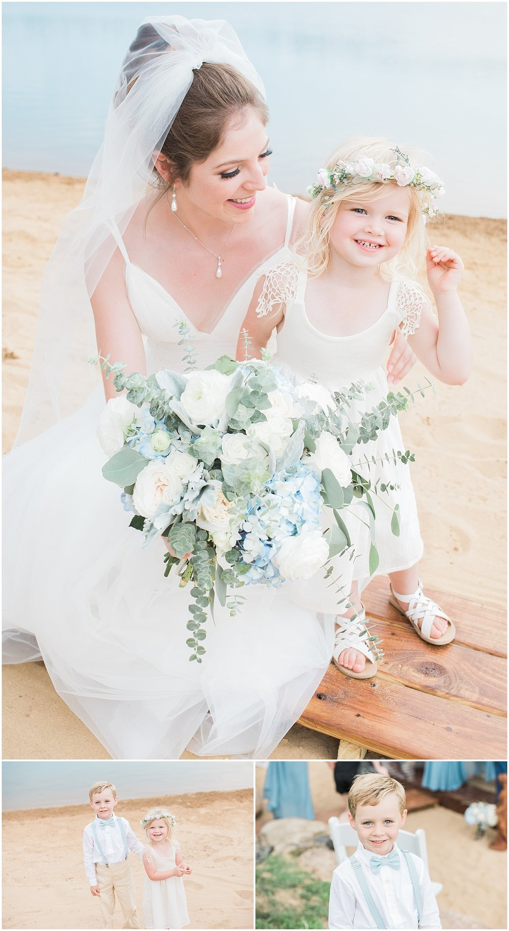 Bride with flowers girl by Alyssa Parker Photography