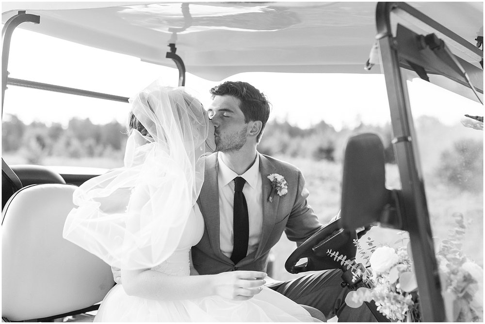 Golf cart bride and groom photo by Alyssa Parker Photography