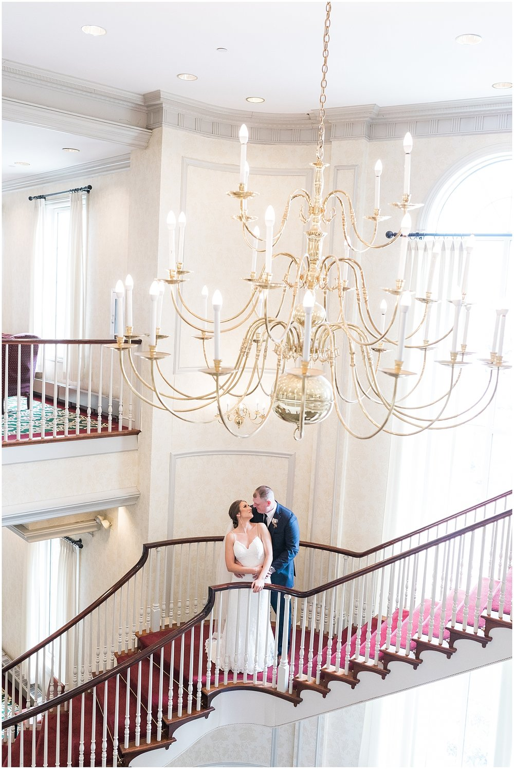 grand staircase bride and groom portrait by Alyssa Parker Photography