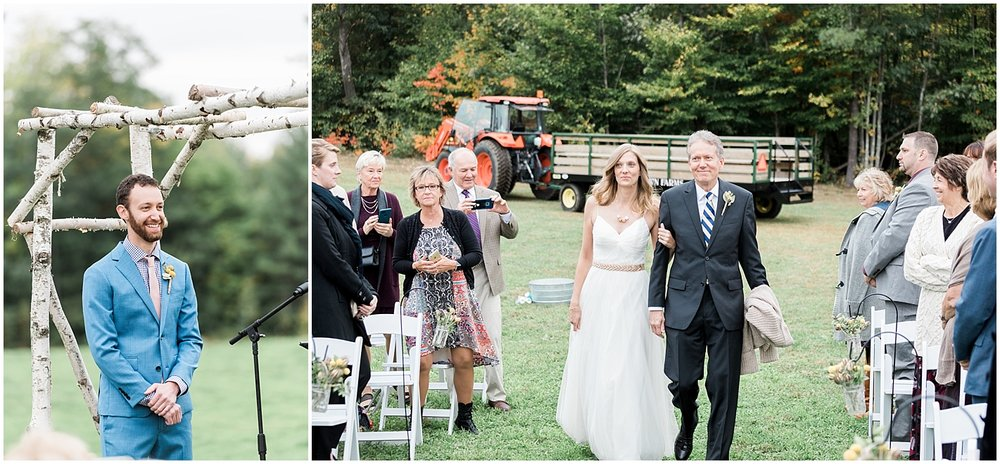 Grooms reacting to bride walking down aisle by Alyssa Parker Photography