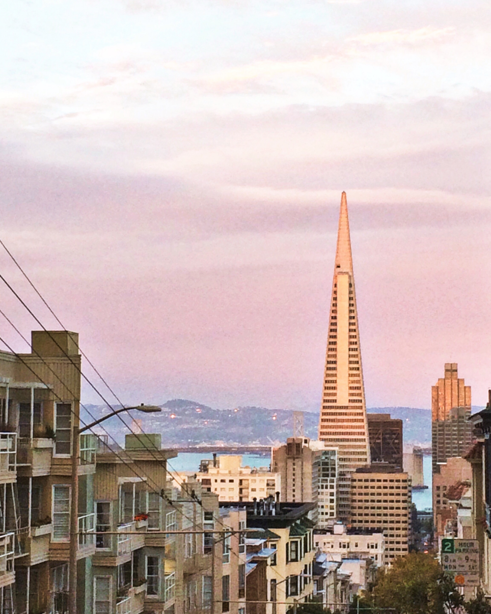 View of Transamerica Pyramid in Downtown San Francisco from Nob Hill's sumit
