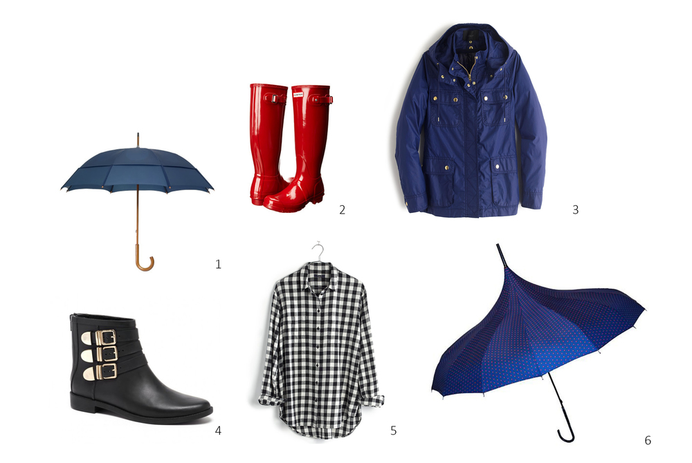 1. Gust Buster Classic $30; 2. Hunter Huntress Gloss Rainboots $150; 3. JCrew Hooded Downtown Field Jacket with Zip-Out Vest $228; 4. Loeffler Randall LR Rain Fenton $195; 5. Madewell Flannel Oversized Boyshirt in Buffalo Check $79.50; 6. BlueAvocado XO Red Micro Dot Umbrella by Lauren Conrad $59.99