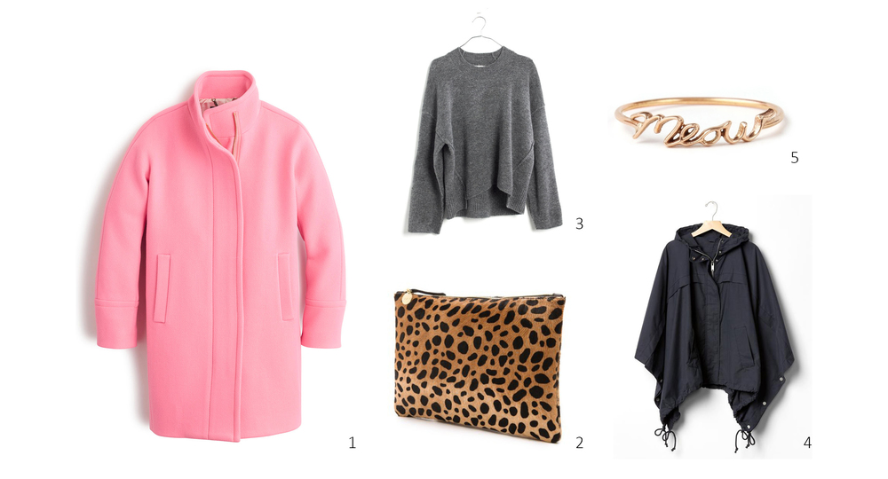 1. J.Crew Stadium-Cloth Cocoon Coat $350; 2. Clare V Flat Clutch $245; 3. Madewell Connection Sweater $79.99; 4. Gap Poncho $72.99 (additional 40% off with Friends and Family code through11/8); 5. Catbird Hortense Cats Meow Ring $318
