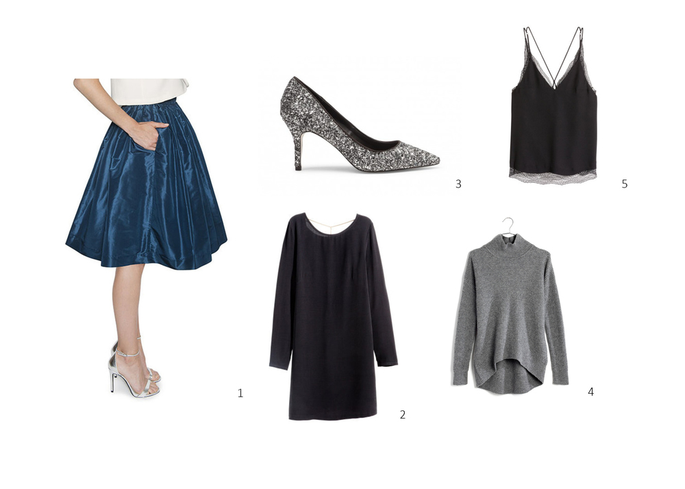 1. Party Sirts Deep Sea Lady Length $245 ;  2. H&M Crepe Dress $49.95 ;  3. Sole Society Cahya $69.95 ;  4. Madewell Wafflestitch Turtleneck Sweater $89.50 ;  5. H&M Double-layer Lace Camisole Top $39.99