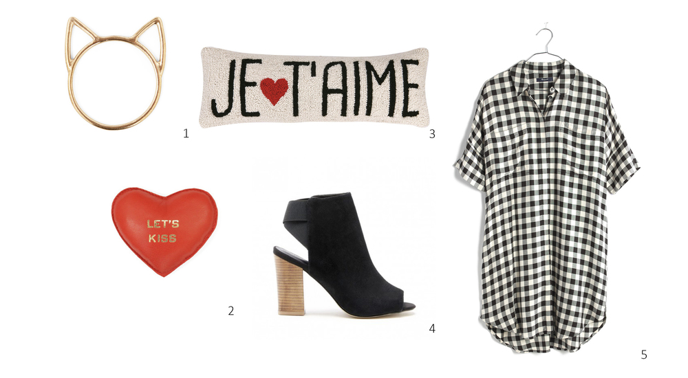 1. Catbird Lovecats Ring $38; 2. ClareV Heart Paperweight $49; 3. Je T'aime Pillow $36; 4. Sole Society Dakota $89; 5. Madewell Courier Shirtdress $98