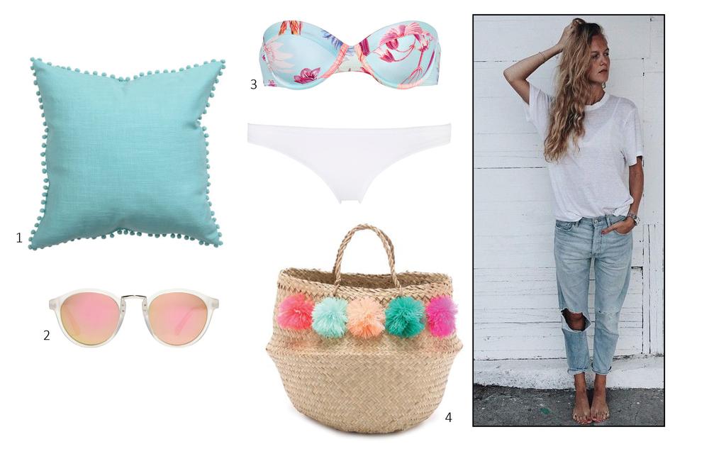 1. HM Home Cushion Cover with Pompom Trim  $18; 2. Madewell indio sunglasses  $55; 3. TRIANGL Marley Sugar Sugar  $89; 4. Shopbop Eliza Gran Venice Tote  $98