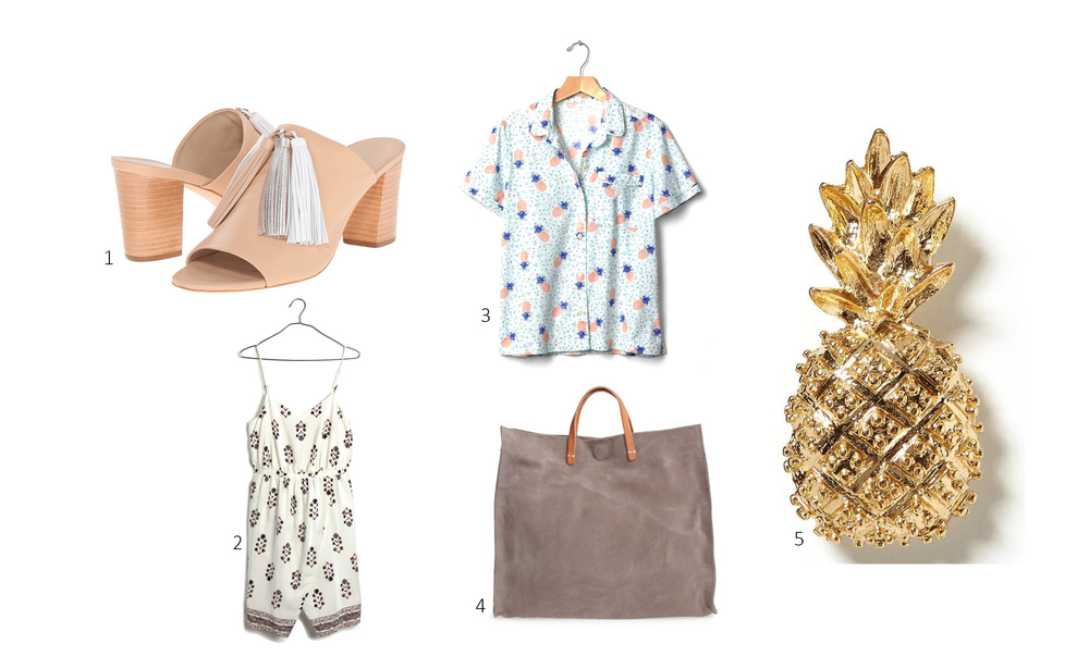 1. Loeffler Randall Clo $395; 2. Madewell Silk Sandstar Dress in Vinefloral $150; 3. Gap Poplin Short Sleeve Pineapple Print Shirt $30; 4. Nordstrom Clare V Simple Tote $395; 5. Banana Republic Pineapple Broach $38