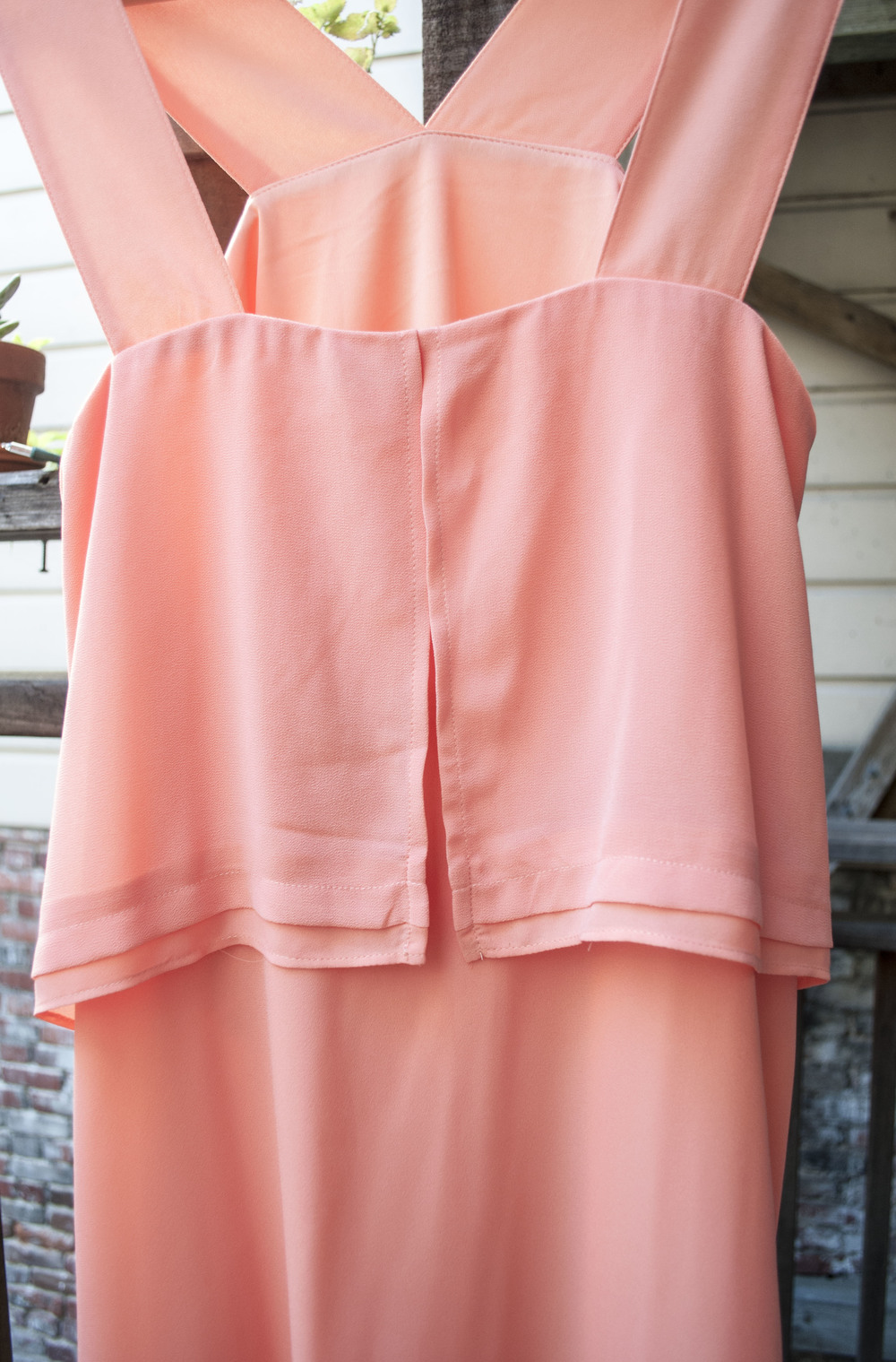 So easily wrinkled! But the color and cut are super flattering. This is a detail shot of the back. The only major downside is there isn't a zipper so you have to pull the dress over your head.
