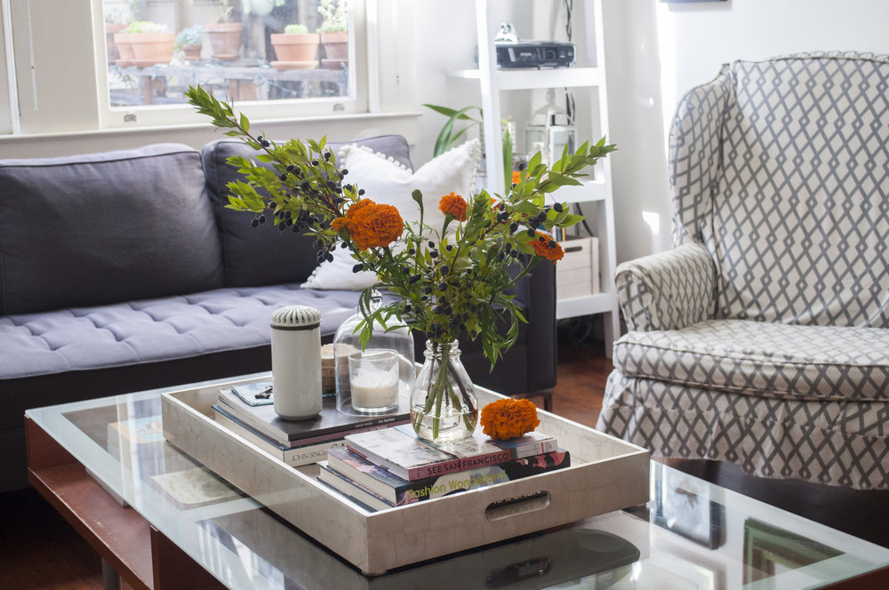 coffee table styling and velvet pillows for fall