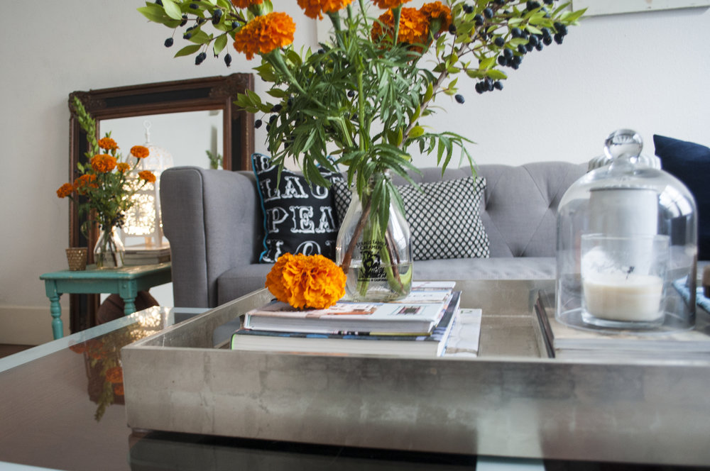 Metallic accents + coffee table styling
