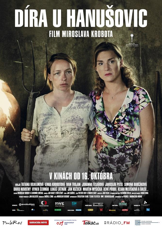 Slovenský plagát k filmu Díra u Hanušovic:   Tatiana Vilhelmová (vľavo) a Lenka Krobotová (vpravo) v hlavných úlohách.