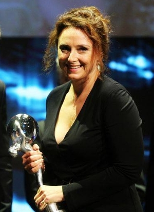 Zuzana Maurery (Mrs. Drazdechova, The Teacher) with Crystal Globe for The Best Actress. Photo: facebook @ucitelka.film