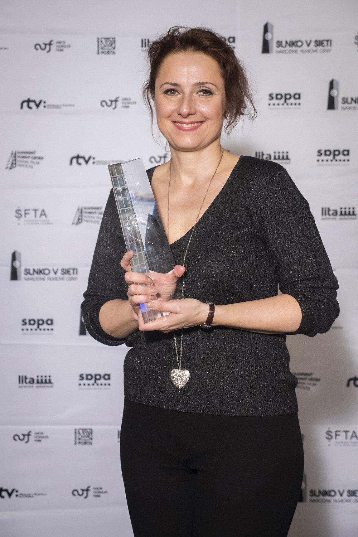 Zuzana Mauréry, na fotografii z Odovzávania Národných filmových cien SLNKO V SIETI (7.4.2017, foto: Daniel Dluhý).