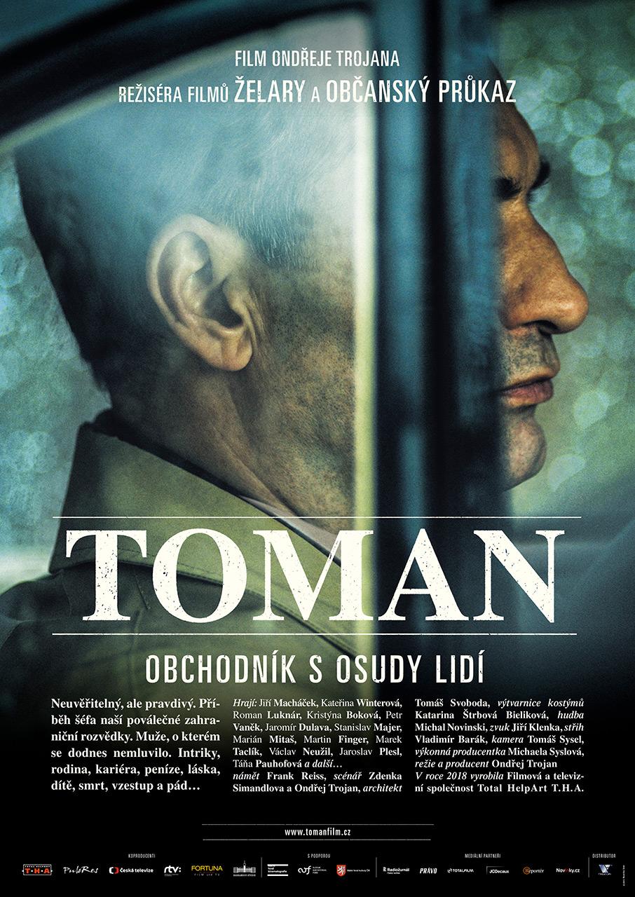 Víťazný český distribučný plagát k filmu TOMAN (2018), ocenený ČFTA v kategórii Najlepší filmový plagát za rok 2018 (autori plagátu Tomáš Zilvar, Lukáš Francl, Barbara Trojanová a Maxmilian Denkr).