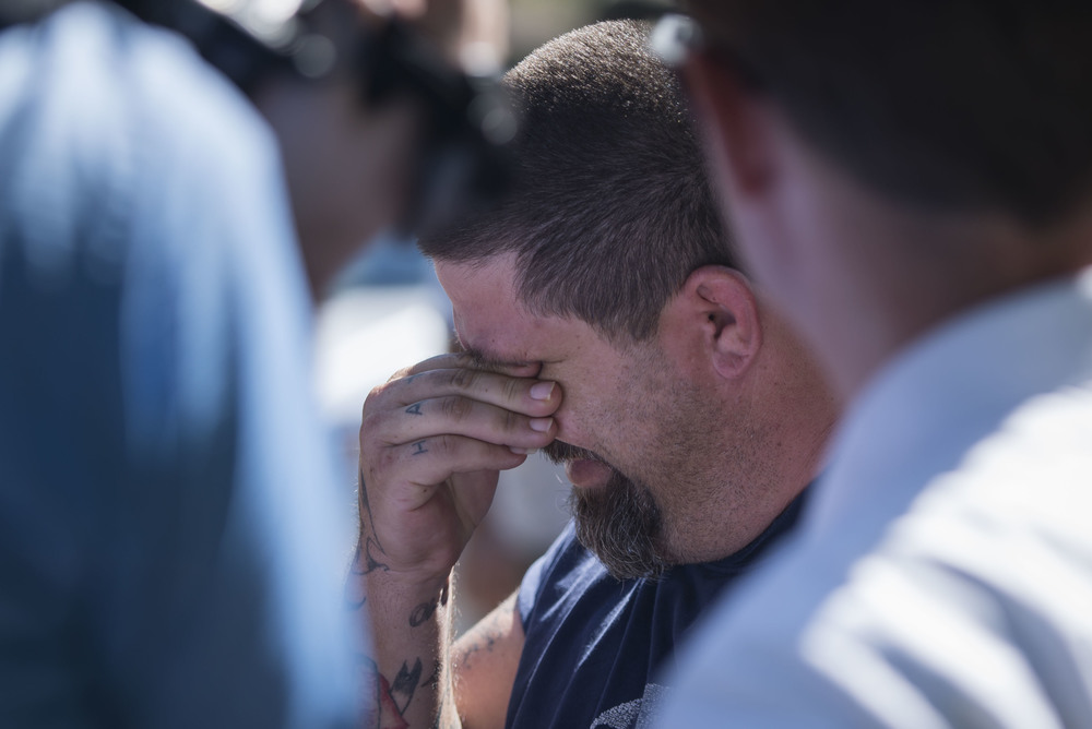 Jeremy Bush, 38, holds back tears as he talks to reporters at a sinkhole that opened at about 9 a.m. in Seffner on Wednesday, Aug. 19. His brother, Jeffrey Bush, was killed by the sinkhole in 2013.