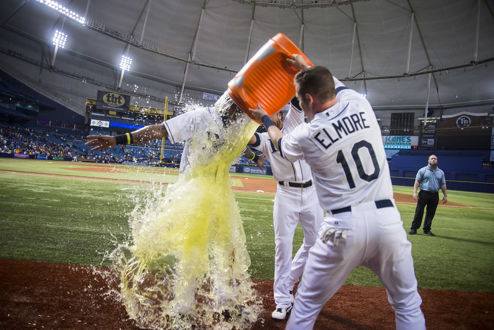 Tampa Bay Rays second baseman Tim Beckham (1) has gatorade dumped on him after the game between the Baltimore Orioles and the Tampa Bay Rays at Tropicana Field in St. Petersburg, Fla.  on Friday, July 24, 2015. The Rays won 3-1.