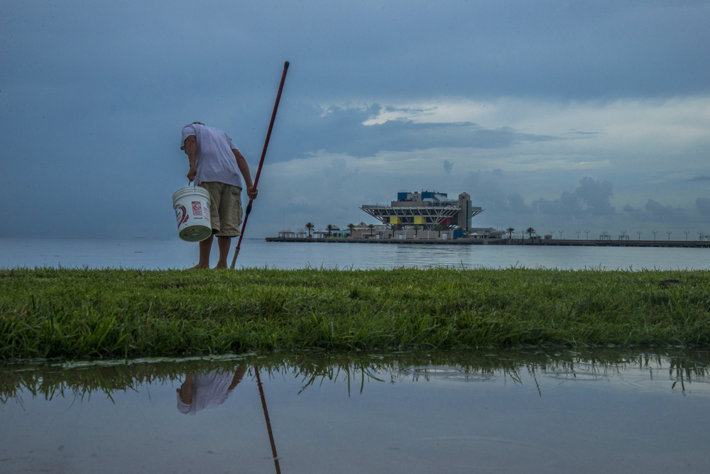 Gyu Tan of St. Petersburg, Fla. searches for critters in the bay by Vinoy Park on the stormy afternoon of July 14, 2015.