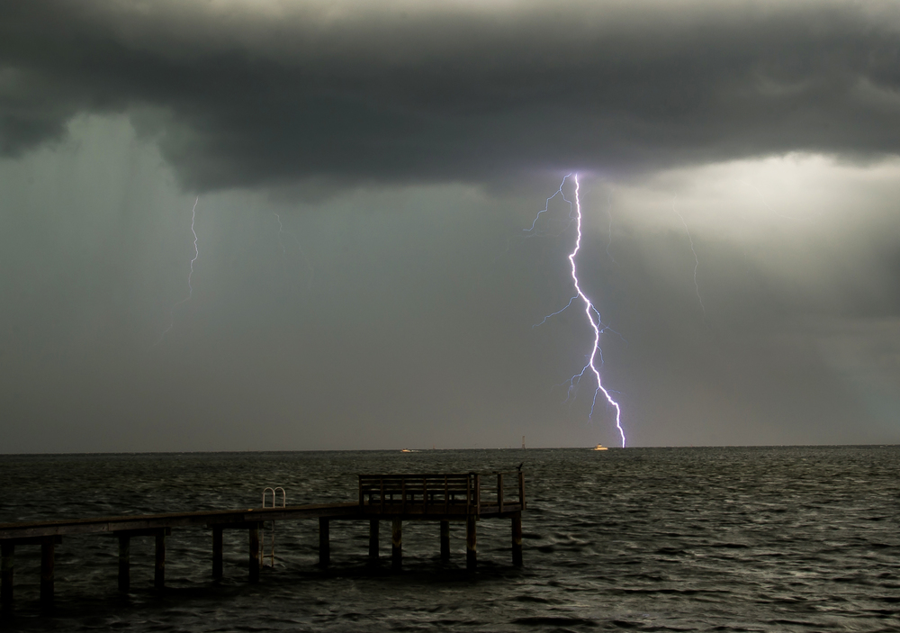 Lighting Strikes across Tampa Bay, Fla. on July 4, 2015. This view is looking out towards Tampa from Shore Acres in St. Petersburg.