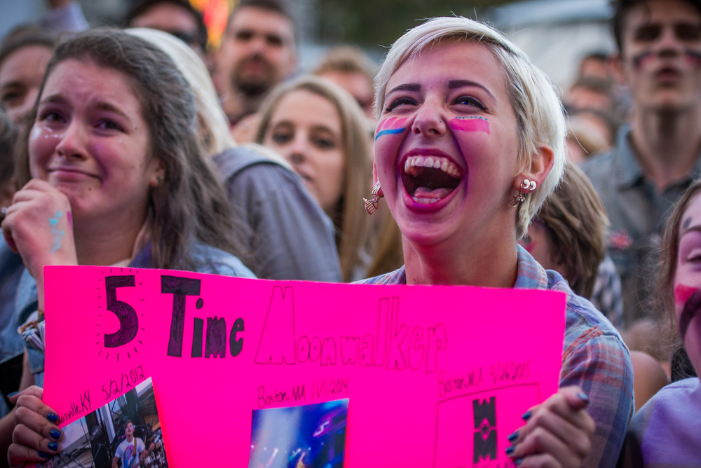 Boston University sophomore Abby Kass, 19, screams as Walk the Moon performs at Boston Calling on Saturday, Sept. 26.