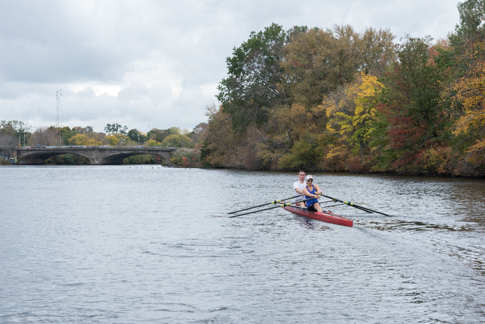 "Para-rower Johanna Beyer, 35, and traditional rower Matt Wheeler, 29, practice for inclusion doubles on Friday, Oct. 21. They came in second in the event. This was the first year for Head of the Charles features having medaled para-rowing and inclusion events. In 2015 inclusion doubles were an exhibition race, which Beyer won.  ""It's more attractive for para rowers to come if there are medals,"" Beyer said. ""If you row and give everything you have it should be counted as a race and not as an exhibition."""
