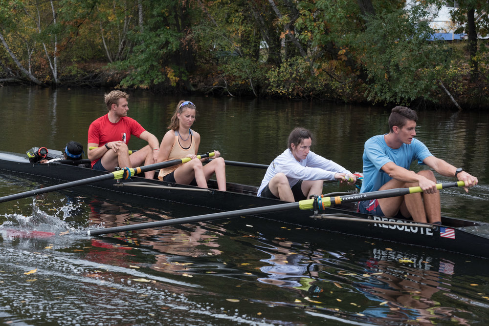 "Left to right, Paul Casey, 25; Kate Barrett, 24; Natalie McCarthy, 29 and Austin Hack, 24 practice on Friday, Oct. 21 for their inclusion fours race on the Head of the Charles.  Barrett lost use of her legs from a spinal cord injury three years ago and McCarthy lost her vision from a brain tumor when she was 11 years old. McCarthy has also been on the U.S. para-national team in 2013 and 2015.  ""I was diagnosed with a brain tumor in one afternoon and the following morning I was in surgery,"" McCarthy said. ""I'm at a point where I not only acknowledge it, but I'm beyond acceptance. I can proudly represent who I am as a disabled athlete.""  Casey is a former CRI coach and member of the Riverside Boat Club. Hack is an American Olympic rower who competed in Rio this past summer. Both said that inclusion is important to the sport.  ""I was really, really impressed by the athletes in our boat,"" Hack said. ""[Inclusion is] something that can make rowing as a whole more positive."""