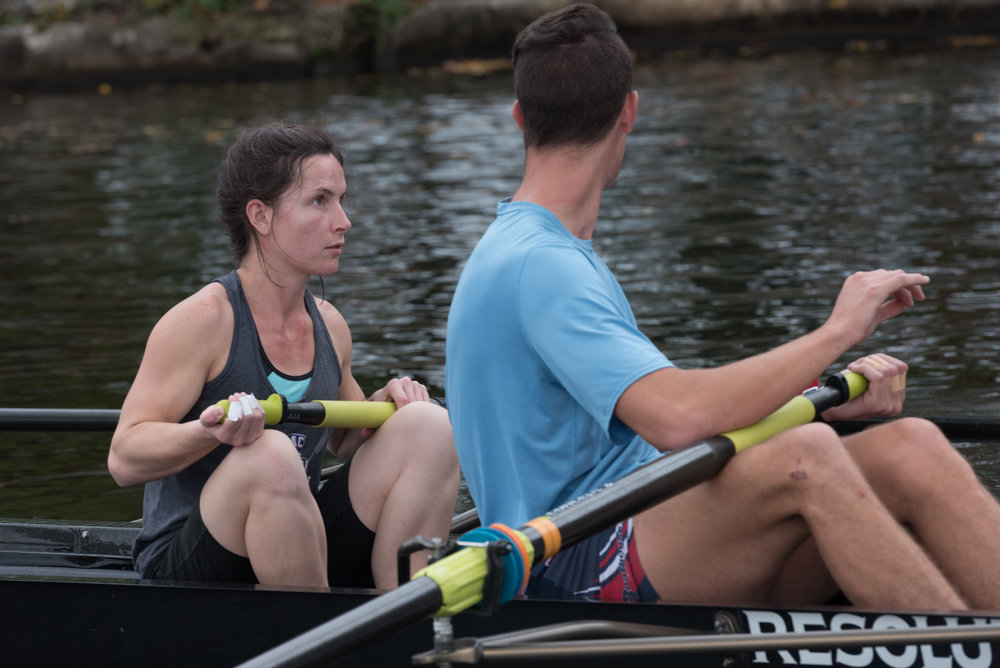 "Olympian Austin Hack talks to Natalie McCarthy during their practice for inclusion fours on Friday, Oct. 21. Austin Hack was going to the Head of the Charles for men's championship eights, when CRI coach Beth Noll called him to ask if he wanted to be part of the inclusion team.  ""First, he gave me a compliment, which made my entire year,"" she said. ""Then he gave me a tip … to prepare my body position early on in the stroke, so that it's simple and smooth.""  Hack said that good communication on a team is necessary for success, as well as offering advice to other members.  ""It's fun for me to be able to offer that kind of help,"" Hack said. ""Anytime I've got something to offer without being overbearing … it's my pleasure to do that.""  Beth Noll, excited about the help her para-rowers will get from the experience, gets giddy at this sight.  ""It must be a totally nerve-wracking experience for her,"" Noll said. ""I'd be freaking out if I was in that boat."""