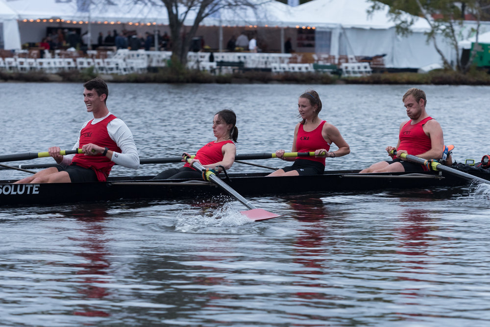 Members of Beth Noll's inclusion four team row after passing through the Elliot Bridge at the Head of the Charles regatta on Saturday, Oct. 22. They won the race by 21 seconds, with a time of 19:37.897.