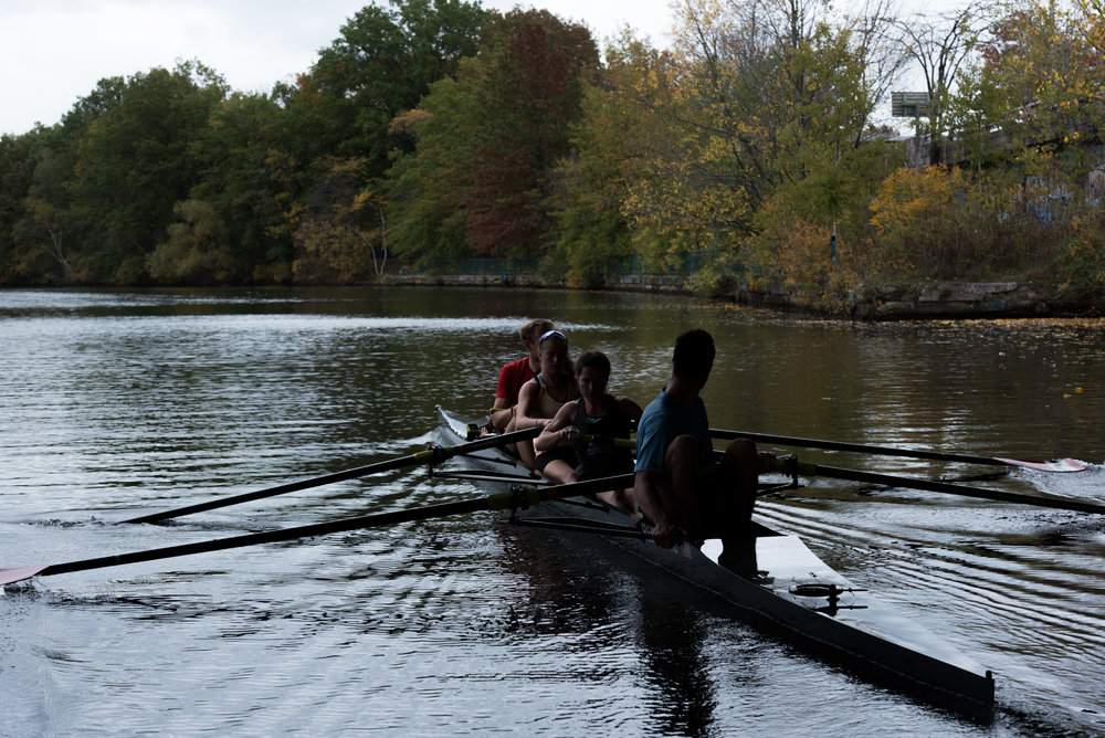 "Members of the inclusion fours race from CRI pass under a bridge during their practice on Friday, Oct. 21. They came in first at the Head of the Charles regatta.  ""We have differing abilities but everybody here's been working hard,"" Paul Casey said."