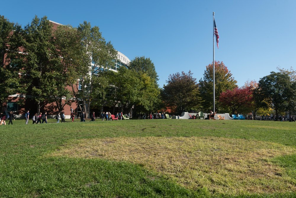 "Students walk past Centennial Commons on Monday, Oct. 17, 2016. DivestNU ended their encampment of Centennial two days earlier.  ""We didn't gain any specific steps from the administration towards divestment. We were, however, very successful in building recognition and social power,"" DivestNU member Nick Boyd said."