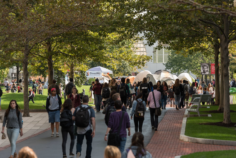 DivestNU tents are posted in Centennial Common on Monday, Oct. 3. The student group coalition began their protest earlier that day asking the University to remove its investments in the fossil fuel industry.