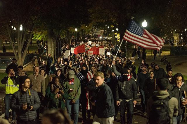 Thousands march across the Boston Common to the State House on Wednesday, Nov. 8. The anti-Trump rally protested the election of Donald Trump, which was one of the most tumultuous and divisive elections in American history. #boston #protest #march #election #bostoncommon