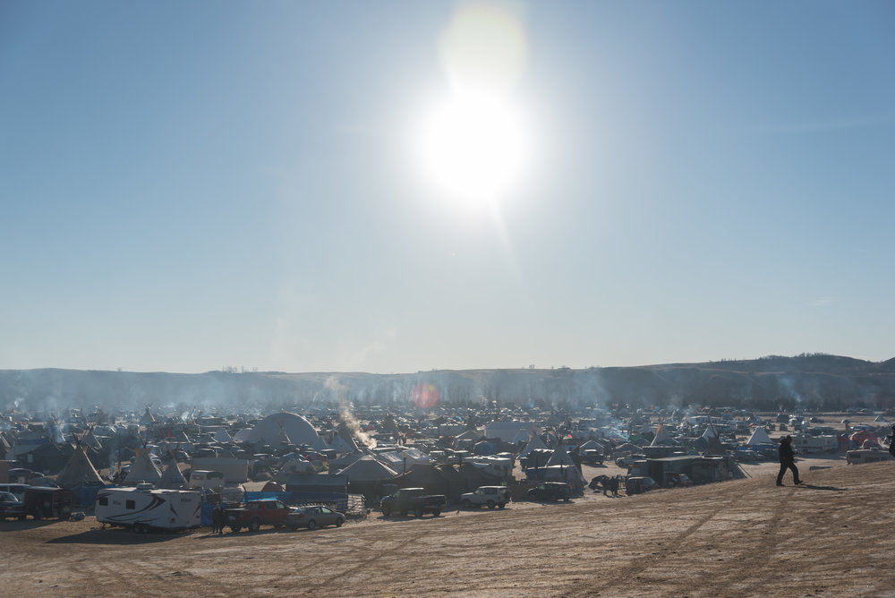 CANNON BALL, North Dakota — The sun bears down on Oceti Sakowin on Thursday, Nov. 24. Temperatures at Oceti Sakowin in November reached single-digits at night, but would warm to nearly 50 degrees during the day.