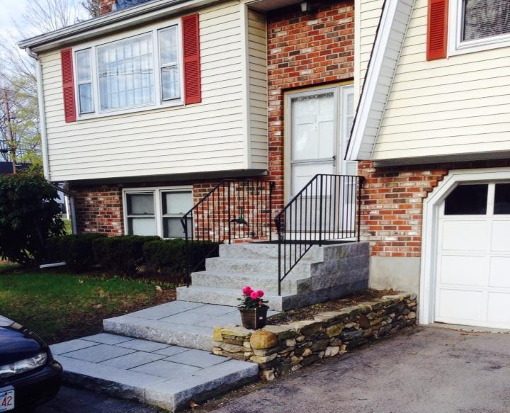 Granite Steps, Landing and small fieldstone retaining wall