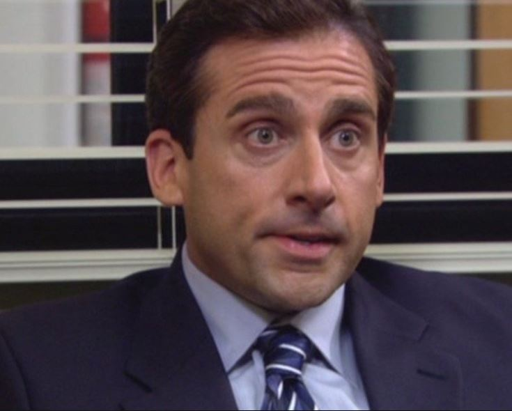 "Steve Carell in a moment of deep thought as boss Michael Scott on ""The Office"""