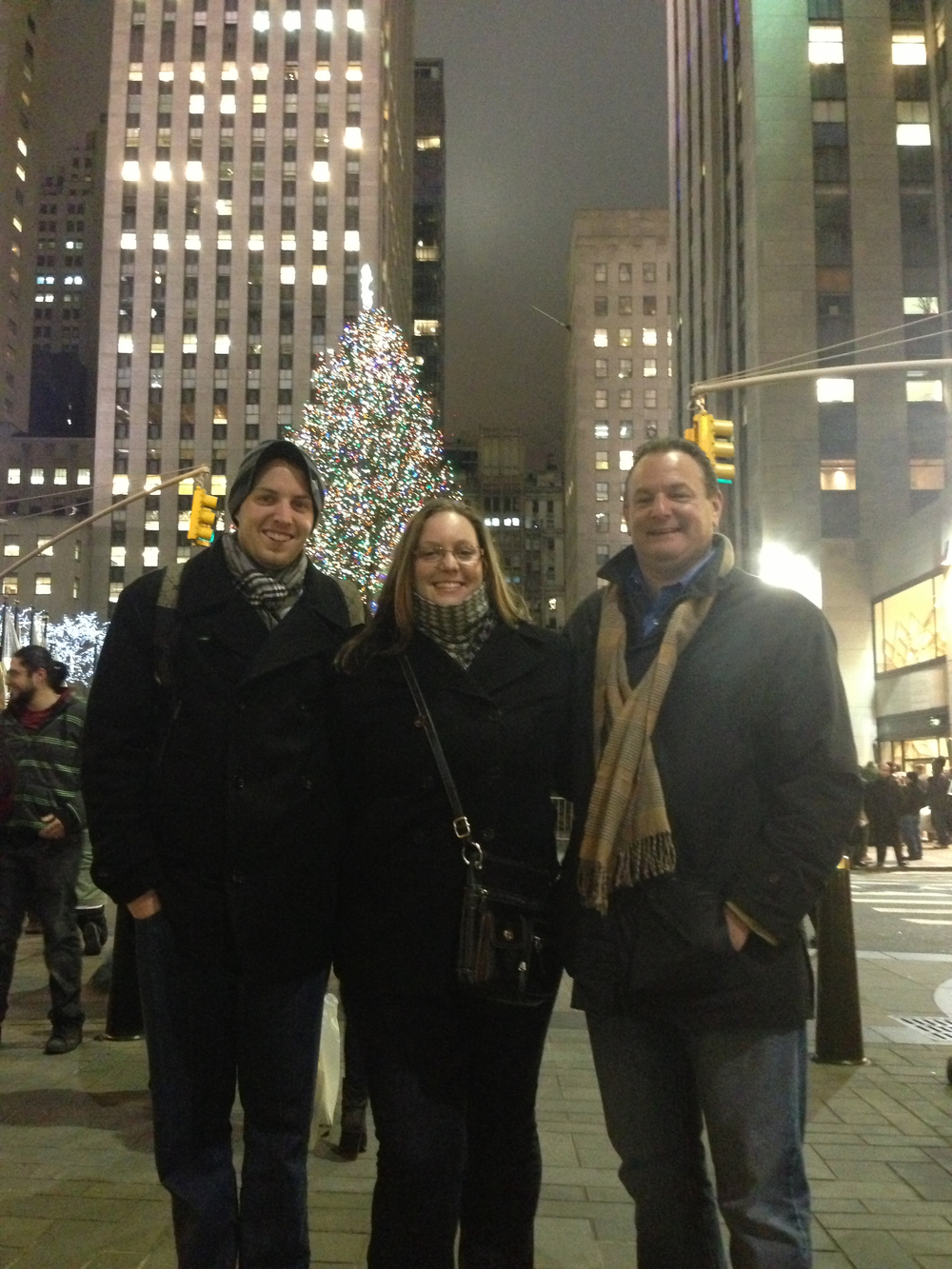 Dr. Quade, pictured with her brother and father in Rockefeller Center.