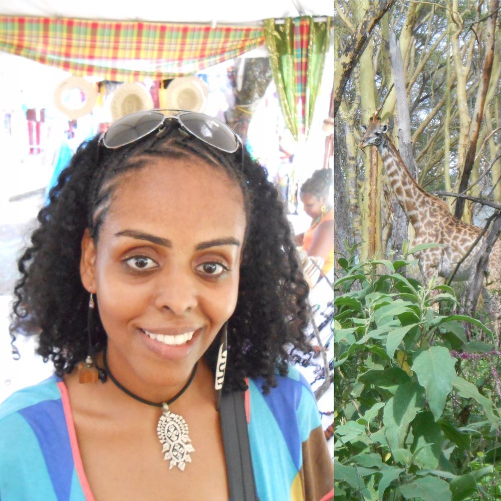 Dr. Aschenaki at St. Lucia Jazzfest (left) and a photo she took of a giraffe in Kenya!