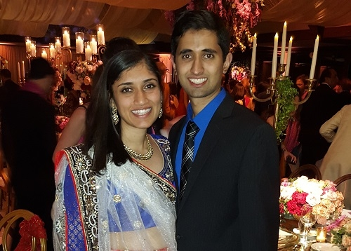 Dr. Amin with fiance Nathan celebrating at a friend's wedding.