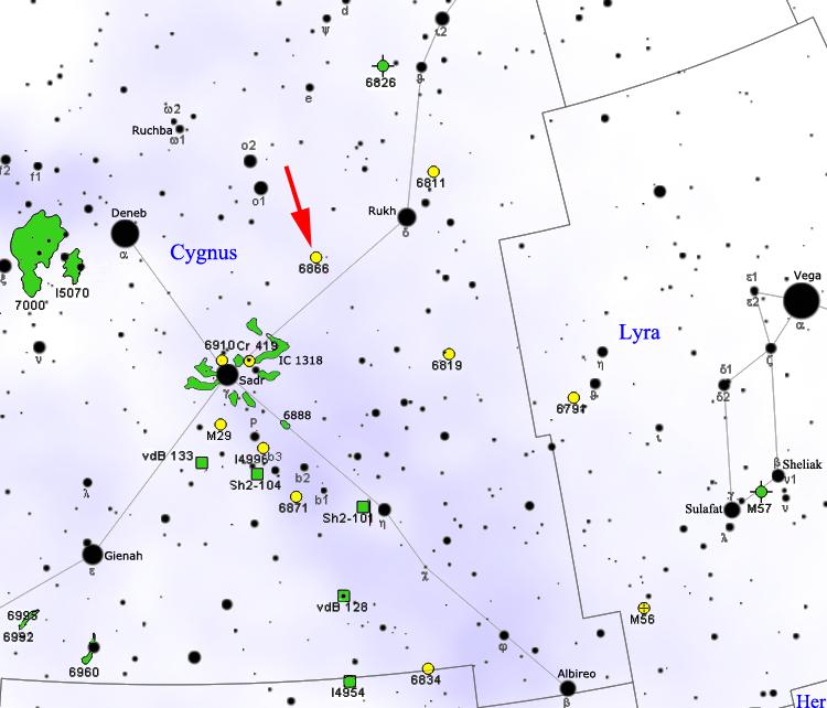 """""""NGC 6866 map"""" por Roberto Mura - Own work. Licensed under CC BY-SA 3.0 via Commons.  KIC 8462852 se encuentra en la vista aparente a la mitad entre las estrellas Deneb (alpha Cigny) y Rukh (Delta Cigny), al ojo forma parte de la Cruz del Norte, está situada al Sur de Omicron y al Noreste de la nebulosa NGC 6866."""
