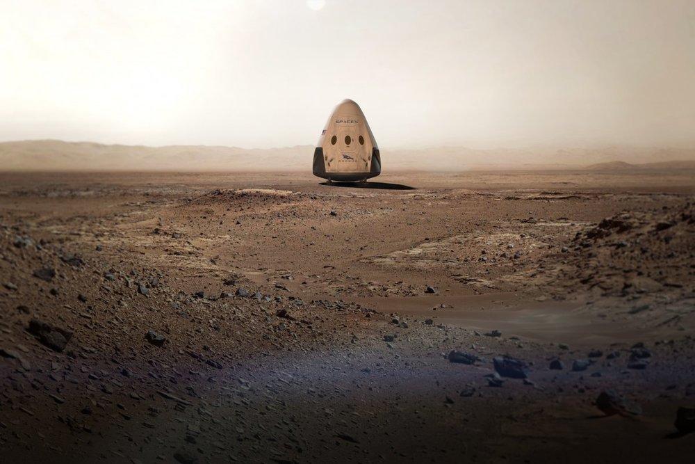 Dragon 2 sobre la superficie de Marte (animación), NCF.