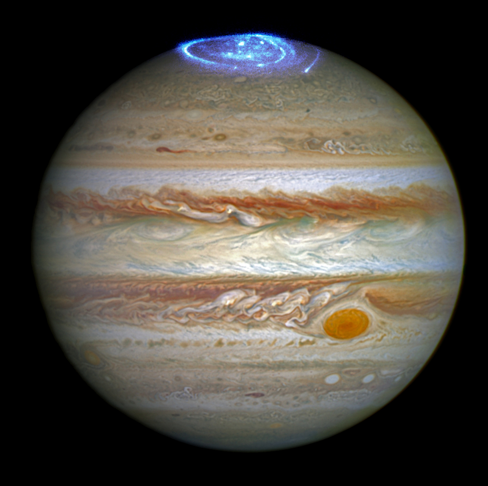 Auroras en Júpiter captadas por el Telscopio Espacial Hubble en Junio de 2016. Foto: NASA