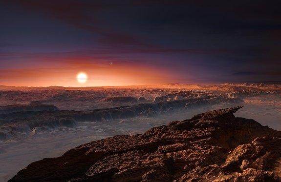 Ilustración de la superficie de Proxima b, planeta que orbita a Proxima Centauri, la estrella más cercana al Sol. Crédito: ESO/M. Kornmesser