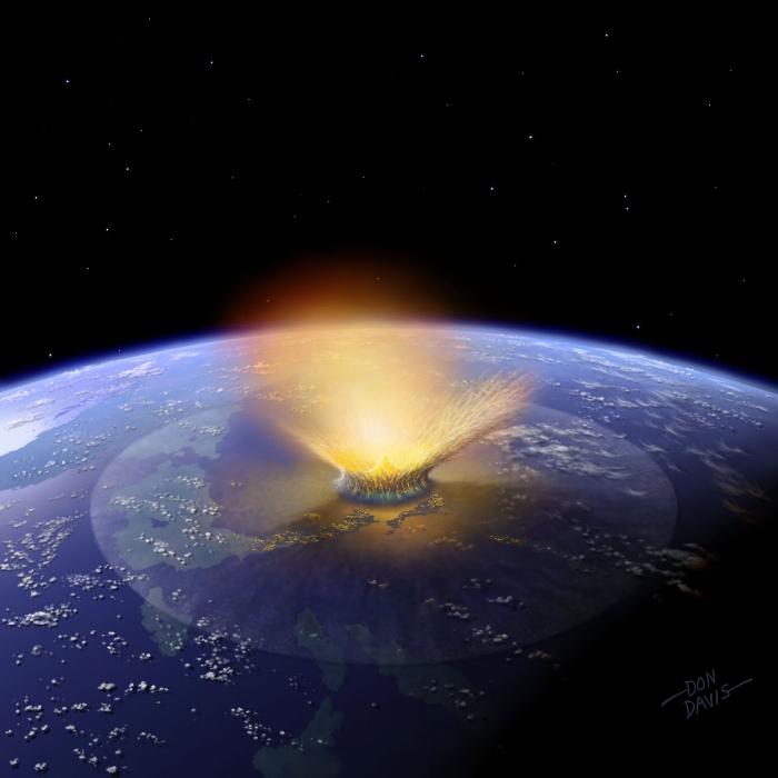 Gran asteroide golpeando la Tierra. Crédito: Don Davis