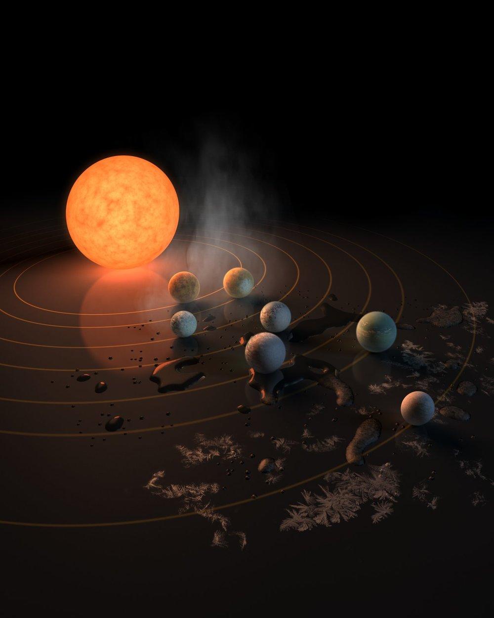 Esta impresión artística muestra a TRAPPIST-1 y a sus planetas reflejados sobre una superficie. El potencial para albergar agua en cada uno de los mundos está representado también por el hielo, las masas de agua y el vapor que rodean la escena. La imagen aparece en la portada de la revista Nature del 22 de febrero de 2017. Crédito: NASA/R. Hurt/T. Pyle