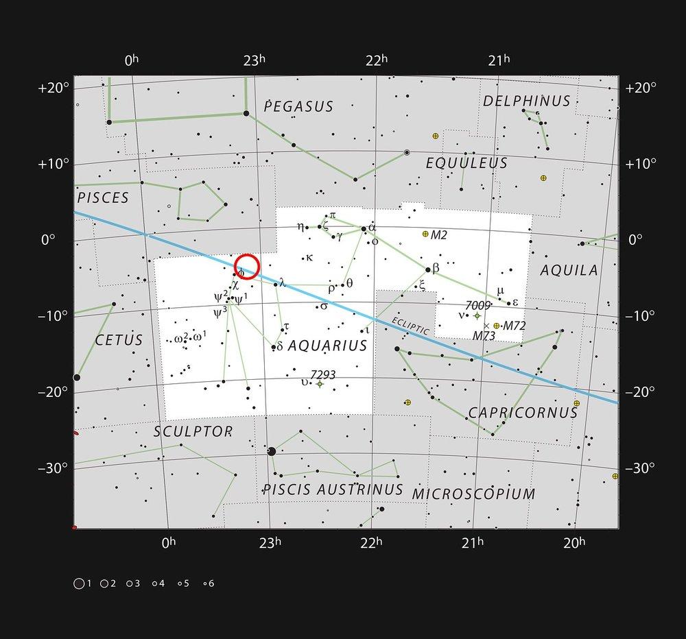 En este mapa se muestran las estrellas que podemos ver a simple vista en una noche oscura y despejada en la extensa constelación de Acuario (El aguador). Se ha marcado la posición de la estrella enana ultrafría TRAPPIST-1, débil y muy roja. Aunque está relativamente cerca del Sol es muy débil y no es visible con telescopios pequeños. Crédito: ESO/IAU and Sky & Telescope