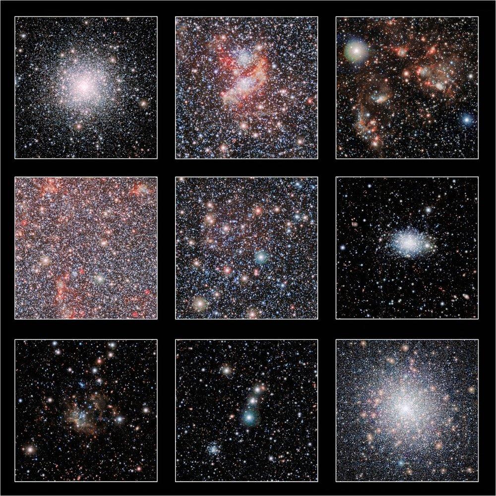 Estos cortes seleccionados muestran algunos de los aspectos más destacados de una nueva imagen infrarroja de nuestra galaxia vecina, la Pequeña Nube de Magallanes, obtenida con el telescopio VISTA desde el Observatorio Paranal de ESO. El panel inferior-derecha muestra el brillante cúmulo globular 47 Tucanae, que se encuentra mucho más cerca de la Tierra que la Pequeña Nube de Magallanes. Crédito: ESO/VISTA VMC